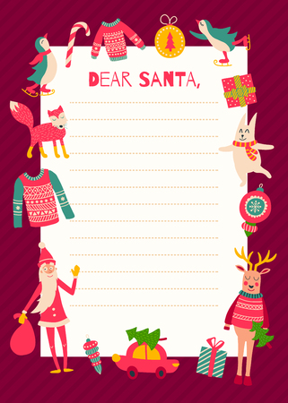 vector template of a Christmas letter to Santa Claus Illustration
