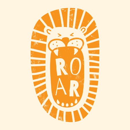 A vector illustration of a lion with opened mouth and roar text in it, orange color, grunge texture