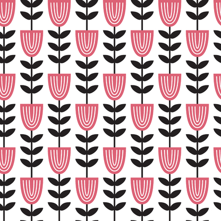 vector seamless pattern with scandinavian style florals