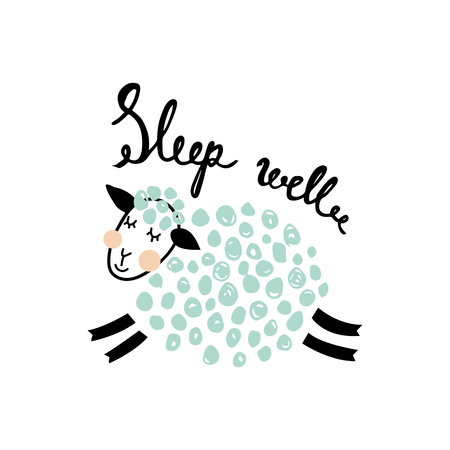 vector cute card with fluffy sheep and sleep well hand lettering text