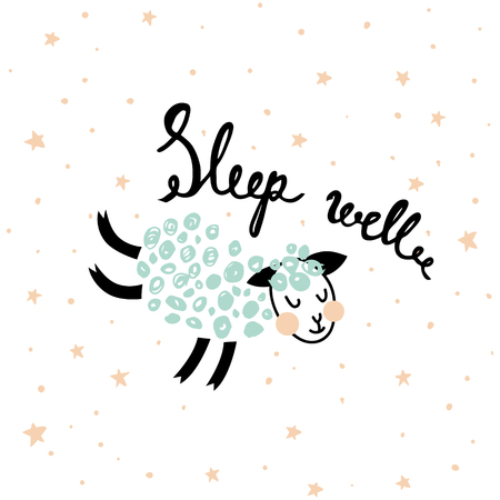 Vector  illustration of a cute sheep, little stars and hand lettering text