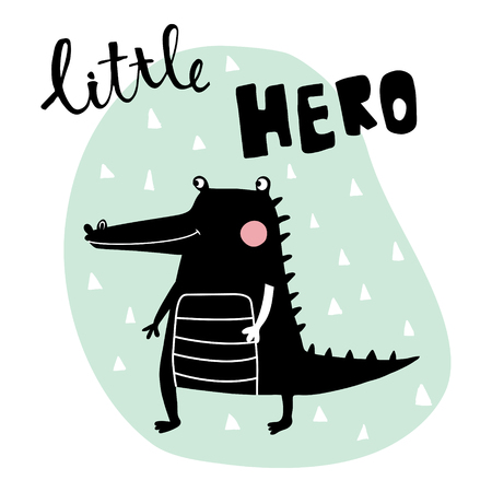vector illustration, black crocodile on a blue background, little hero hand lettering text