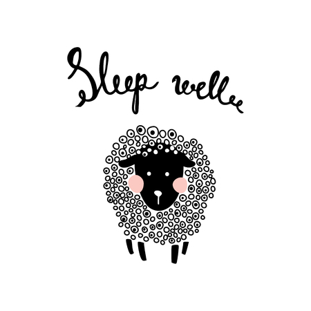 Vector illustration of a cute fluffy sheep and sleep well hand lettering text