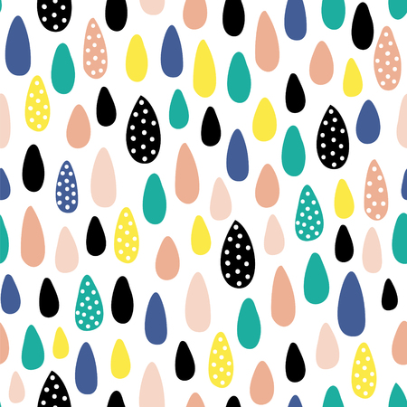 Vector seamless pattern with cute hand drawn raind drops on white background Illustration