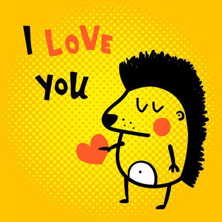 Vector card, cute hedgehog, i love you hand lettering text