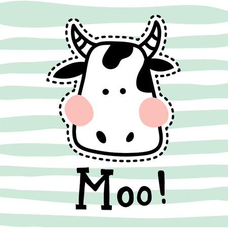 vector illustration, cute cow head on striped background