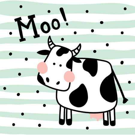 vector illustration of a cute cow on striped background