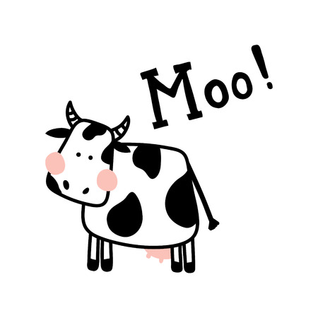 vector illustration of a cute cow on isolated background and hand lettering Moo text 版權商用圖片 - 93602359
