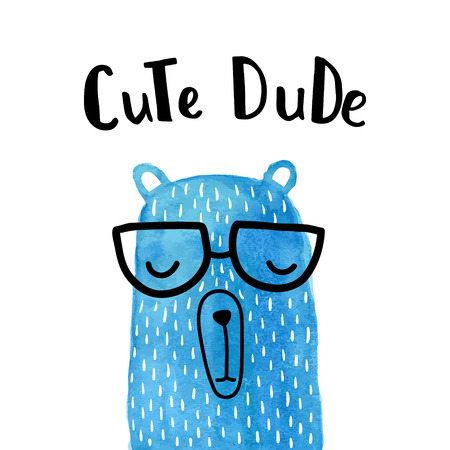 vector greeting card, blue bear, hand lettering, cute dude text