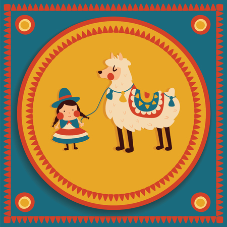 vector illustration, funny bolivian girl in traditional cholita costume, cute lama, tribal background