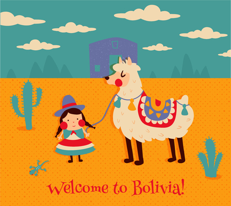 vector illustration, cute bolivian girl in traditional cholita costume, funny llama Vectores