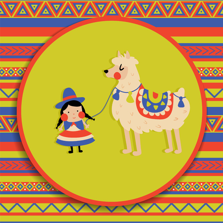 vector illustration, cute bolivian cholita girl, funny lama, patterned background