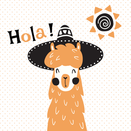 vector illustration, a cute llama in mexican sombrero hat, hola spanish text, which is translated as hello Çizim