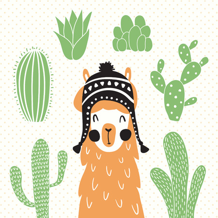 vector illustration of a llama in a traditional bolivian hat and cactus around Vettoriali