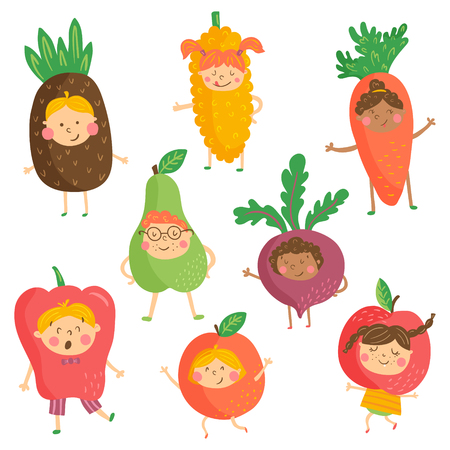 Set of cute characters, funny children wearing fruit and vegetable costumes vector.