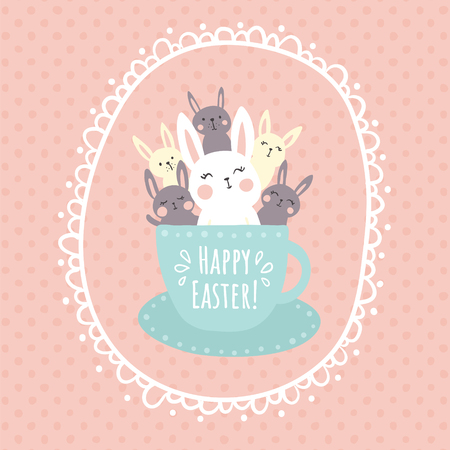 vector illustration, adorable rabbits sitting in a tea cup, happy easter text