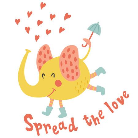 De vectorillustratie, grappige olifant in regenlaarzen, die een paraplu in zijn staart houden, spreidde de van letters voorziende tekst van de liefdehand uit