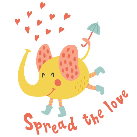 Vector illustration, funny elephant in rain boots, holding an umbrella in his tail, spread the love hand lettering text