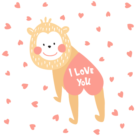 vector illustration with funny monkey and I love you hand lettering text