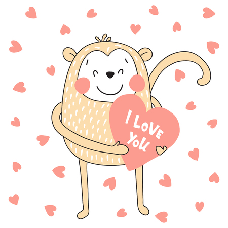 vector illustration, cute monkey holding a heart in hands
