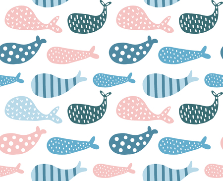 A vector seamless pattern with pink and blue whales Фото со стока - 97519273