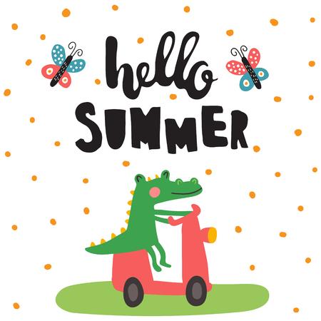 vector illustration, cute crocodile riding a motorbike, hand lettering text Vettoriali