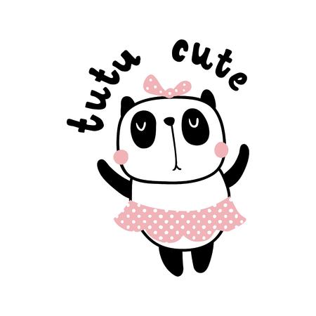 vector illustration, adorable panda bear dancing as ballerina, hand lettering tutu cute text Vettoriali