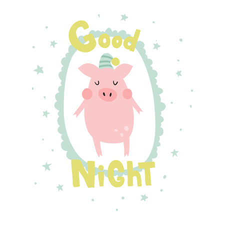 vector illustration, cute sleeping pig, hand lettering text Ilustração