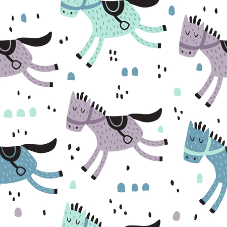 vector seamless pattern with adorable horses