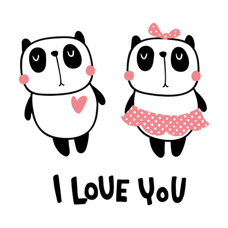 Vector illustration, cute panda couple and i love you hand lettering text Ilustração