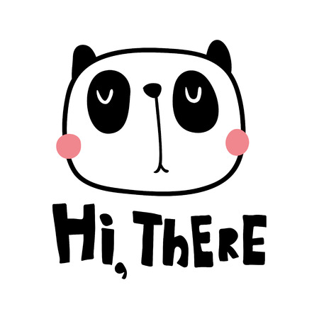 A vector illustration, cute panda and hand lettering hi there text