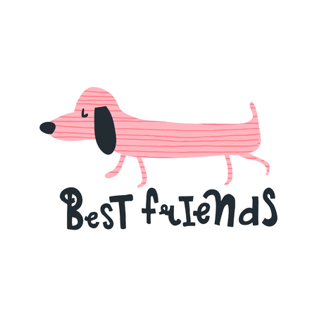 Vector illustration, dachshund dog and hand lettering text Illustration