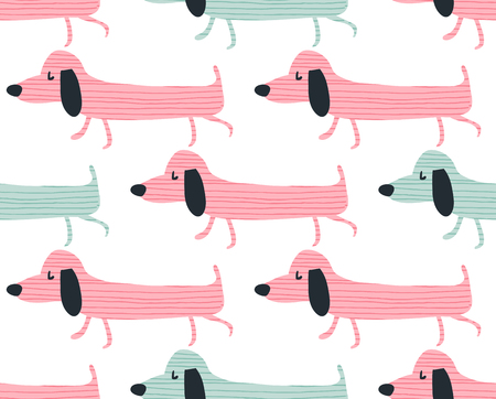 Vector seamless pattern, funny dachshund dogs in pink and blue