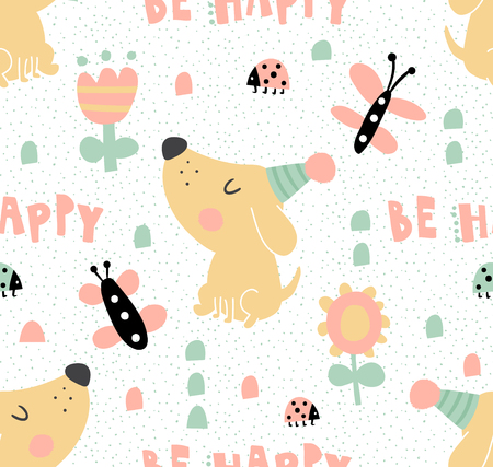 A vector seamless pattern, template of kids birthday wrapping paper, dog illustration, be happy hand lettering text Stock Illustratie