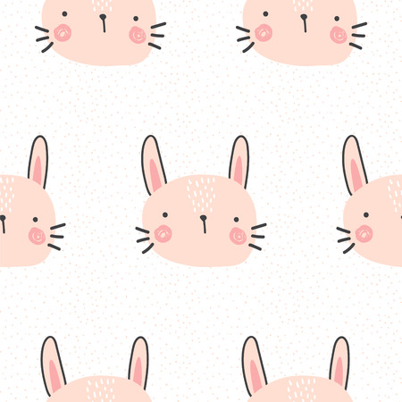 A vector seamless pattern, simple and cute bunny print isolated on plain background.