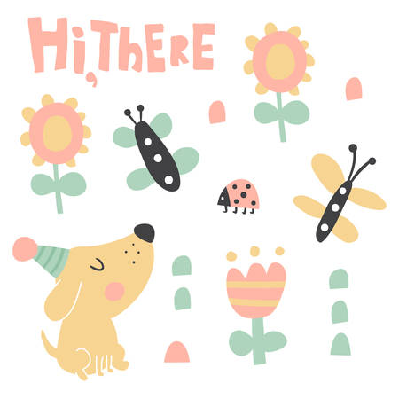 vector set of cute illustrations, dog, flowers, ladybug, hand lettering hi there text Çizim