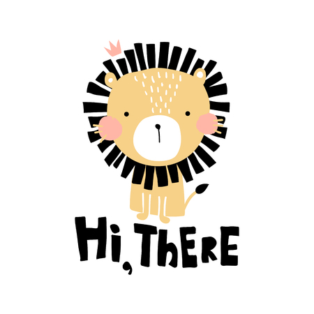 Vector illustration, cute lion and hi there hand lettering text Çizim