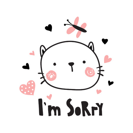 Vector illustration, sad kitten and I'm sorry hand lettering text Ilustrace