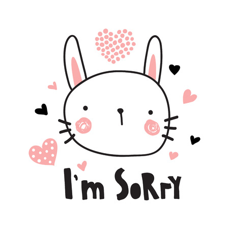 A vector template of a greeting card, I'm sorry text and cute bunny illustration Illustration