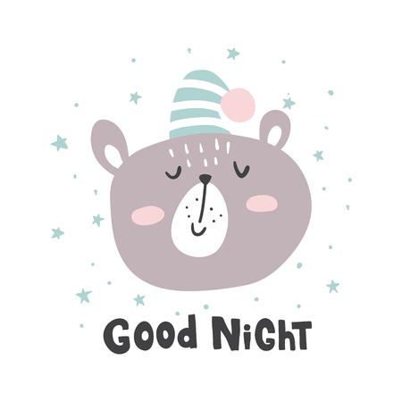 illustration vectorielle, ours mignon dans un chapeau de couchage et bonne nuit main lettrage texte