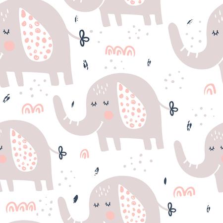 vector seamless pattern, cute and funny elephants Standard-Bild - 101580213