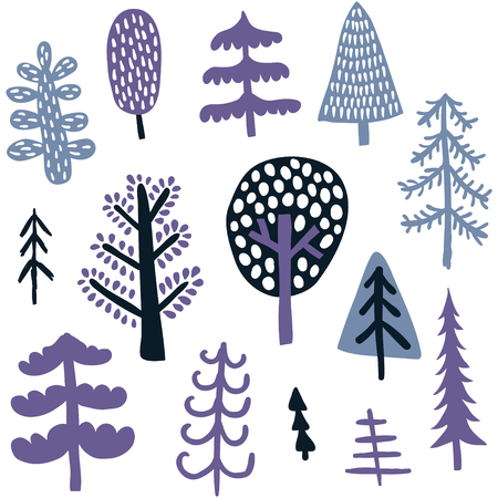 vector set of cute hand drawn trees on isolated background Иллюстрация