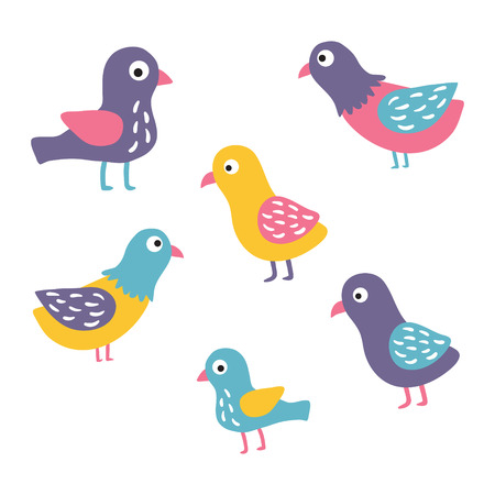 vector set of funny hand drawn birds on isolated background