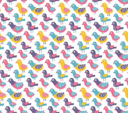 vector seamless pattern with cute and funny little birds Иллюстрация