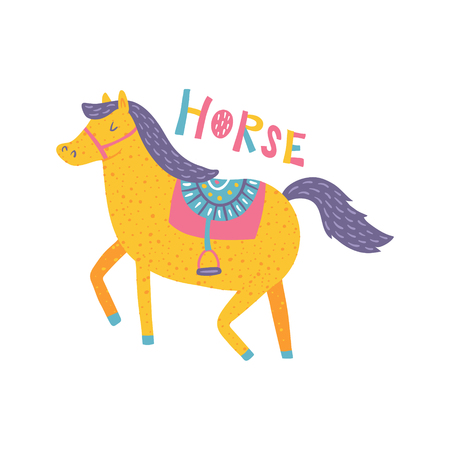 vector template of a greeting card with horse illustration and hand lettering text