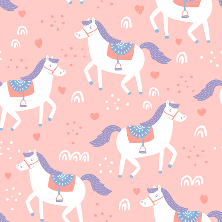 vector seamless pattern with cute horses on pink background