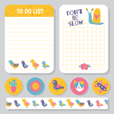 vector set, two templates of notepad with snail and birds illustration, funny stickers, and seamless washi tape template Иллюстрация