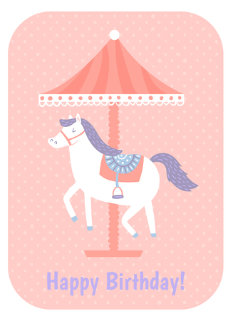 vector template, beautiful horse, merry go round on pink background