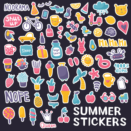 vector set, huge collection of summer stickers