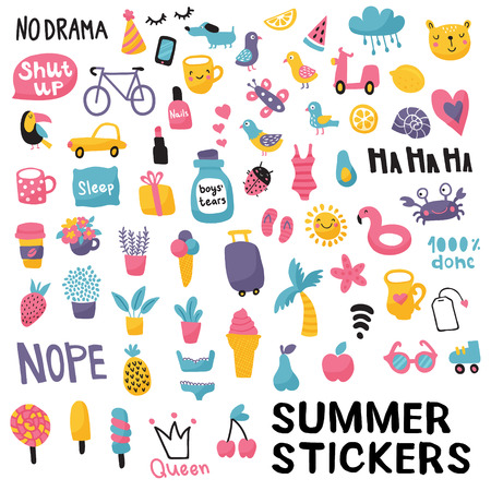 vector set, huge collection of summer stickers on isolated background Иллюстрация